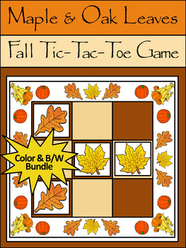 Thanksgiving Activities: Maple & Oak Leaves Fall-Thanksgiving Tic-Tac-Toe Game