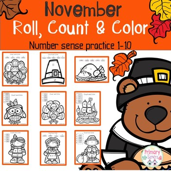 Thanksgiving Activities Math Count and Color