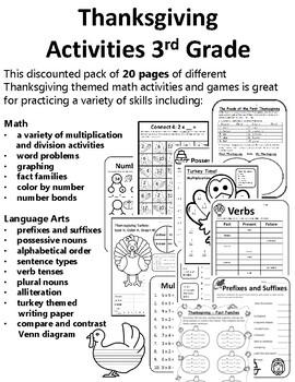 Thanksgiving Activities 3rd Math & Thanksgiving Writing Th