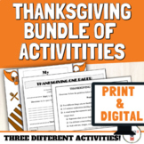 Thanksgiving Activities Middle and High School BUNDLE | On