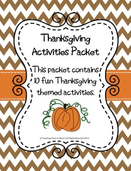Thanksgiving Activities Packet With 10 Activities