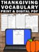 Thanksgiving Activities Vocabulary Worksheets Writing ELA Speech Language ESL