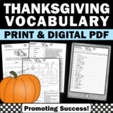 Thanksgiving Worksheets, Thanksgiving Vocabulary Activities Word Search Writing