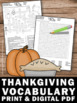 Thanksgiving Activities Vocabulary Worksheets Writing ELA