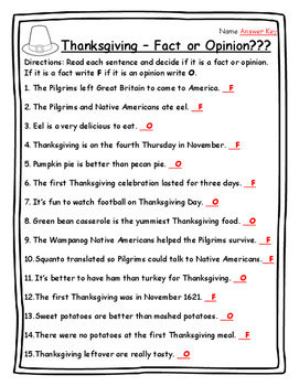 Thanksgiving Activities Reading Strategies Fact or Opinion - Thanksgiving 2nd