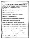 Thanksgiving Activities Reading Strategies Fact or Opinion Thanksgiving 2nd