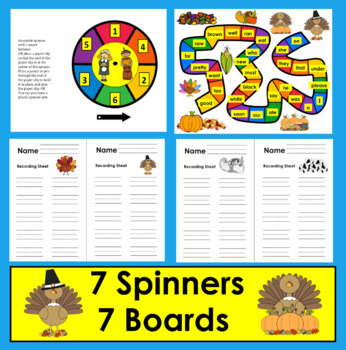 Thanksgiving Activities Sight Word Games - 52 Primer Dolch Words First Grade