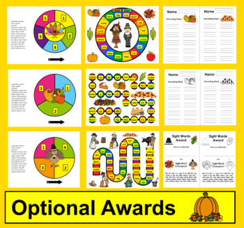 Thanksgiving Activities Sight Word Games - PrePrimer - First 40 Dolch