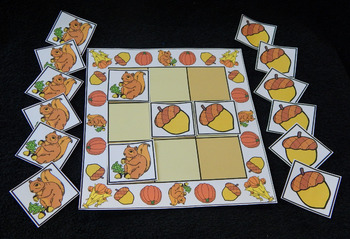 Thanksgiving Activities: Squirrels & Acorns Fall-Thanksgiving Tic-Tac-Toe Game