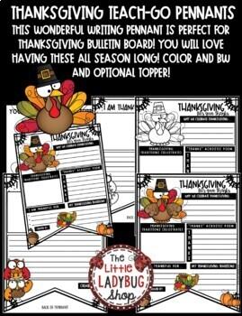 Thanksgiving Writing Activity - I am Thankful For... Teach- Go Pennants™