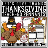Thanksgiving Writing Activity - I am Thankful For... Teach- Go Pennants™