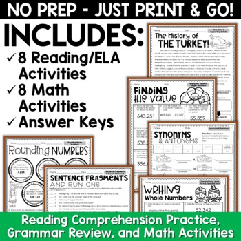 Thanksgiving Activities: Thanksgiving NO PREP Reading and Math