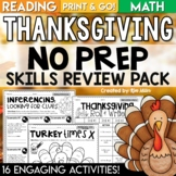 Thanksgiving Activities Math and Reading | No Prep