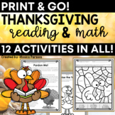 Thanksgiving Activities   Thanksgiving Reading & Math Worksheets