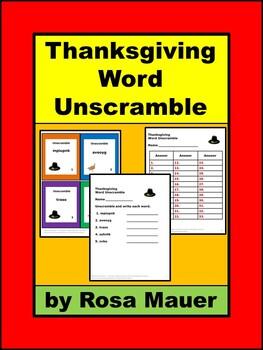 Thanksgiving Word Unscramble