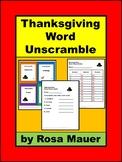 Thanksgiving Activities, Word Unscramble, Language Arts, W