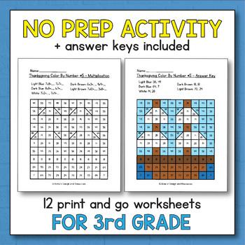 Thanksgiving Activities for 3rd Grade - Thanksgiving Multiplication Worksheets