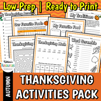Thanksgiving Activities for Elementary Students by Katrina ...