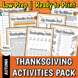 No-Prep Thanksgiving Activities for Elementary Students