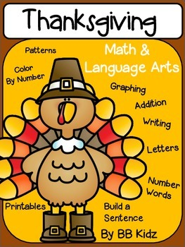 Thanksgiving Kindergarten Activities for Math and Language Arts/ Graphing