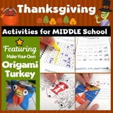 Thanksgiving Activities for Middle School - Breakout Box - Turkey Craftivity