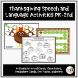 Thanksgiving Activities for Speech Therapy (PK-2nd grade)