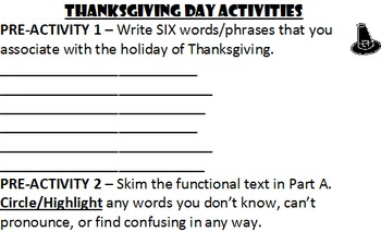 Thanksgiving Activities using Power Partner Reading