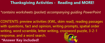 Thanksgiving Activities using Power Partner Reading PowerPoint