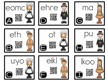 Thanksgiving Activities with QR Code Task Cards