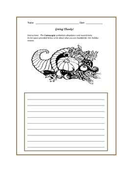 Thankful: A Thanksgiving Lesson Involving Writing and Graphing