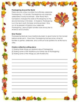 Thanksgiving Activity // ALL ABOUT THANKSGIVING // History // Writing