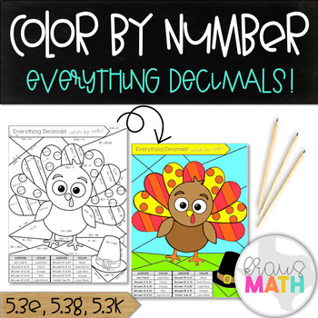 Thanksgiving Activity: All Decimal Operations Practice: Color by Number!