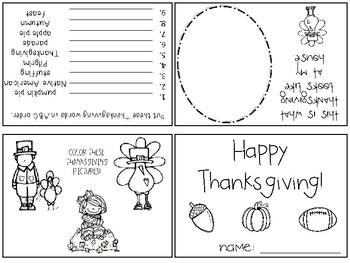 Thanksgiving Activity Book - Foldable
