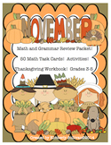 Thanksgiving math activities and grammar literacy centers