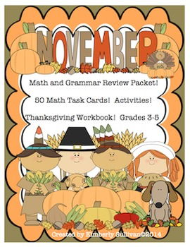 Fall Thanksgiving Workbook  math and grammar activities  centers