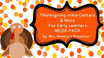 Math and Reading Centers for Preschool! Thanksgiving theme!
