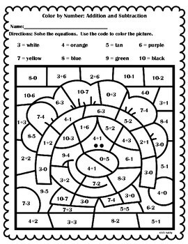 A Thanksgiving Activity: Color By Number Addition and Subtraction