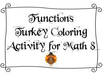 Thanksgiving Activity - Functions Math 8 - Includes Coloring Page