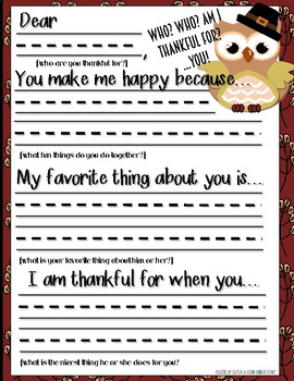 "Thanksgiving Activity: Letter Writing ""Who am I thankful for?"" Pre-K through 2nd"