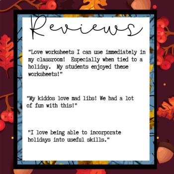 "Thanksgiving Activity: ""Mad Libs"" Writing / Short Story"