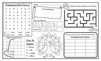 Thanksgiving Activity Mat - A Page FULL Of Fun Thanksgiving Activities!