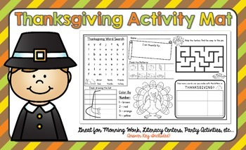 Thanksgiving Activity Mat - A Page FULL Of Fun Thanksgivin