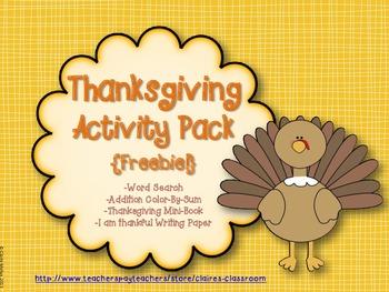 Thanksgiving Activity Pack Freebie
