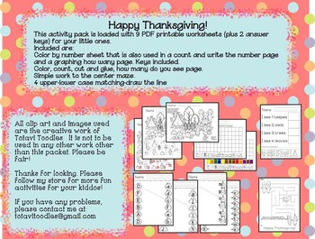 Thanksgiving Activity Pack * Printables * Worksheets