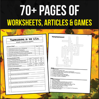 Thanksgiving Activity Pack (Worksheets, PowerPoints, Lesson Plans)