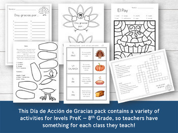 Thanksgiving Activity Pack in Spanish for Elementary Grades
