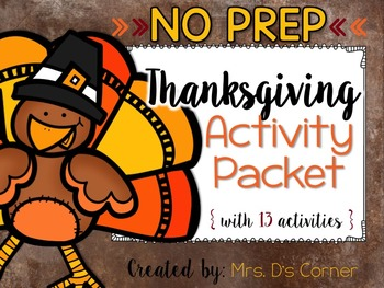 NO PREP Thanksgiving Activity Packet { 13 activities }