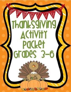 Thanksgiving Activity Packet Grades 3-6