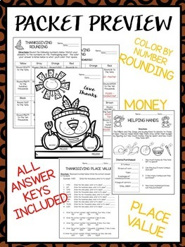 Thanksgiving Activity Packet - Math and Reading