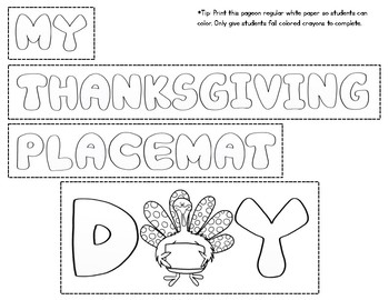 Thanksgiving Placemat Craft for Thanksgiving Dinner